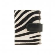 Portacarte in pelle di zebra con chiusura