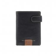 Portafoglio con spilla in pelle nera e borsa interna