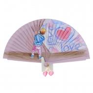 Ventilatore in legno vintage rosa bambino e cuore