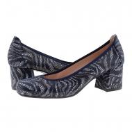 Scarpe lounge in finta pelle di serpente blu scuro