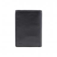 Portafoglio sei carte in pelle liscia nera