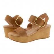 Sandali con zeppa due strisce di pelle crosta di cuoio