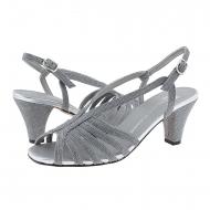 Sandali abito Plumers in tessuto glitter argento