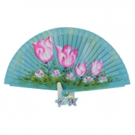 Ventaglio blu dipinto di fiori rosa design