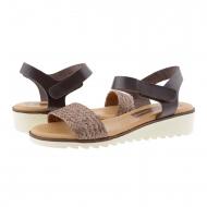 Sandali con zeppa in pelle liscia e rafia marrone con velcro
