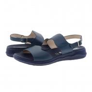 Sandali con zeppa in pelle liscia blu navy C-5623 Wonders