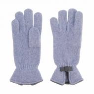 Guanti in lana con fiocco in pelle