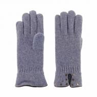 Guanti in lana con borchie in pelle