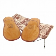 Pantofole da viaggio con rivestimento in crosta di pelle